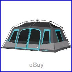 10 Person Cabin Tent 2 Room Waterproof All Season Outdoor Camping Shelter Gray