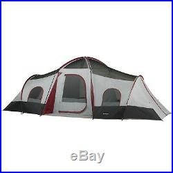 10 Person Ozark Trail Outdoor Camping 3 Room 2 Side Entrance Tent Family Large