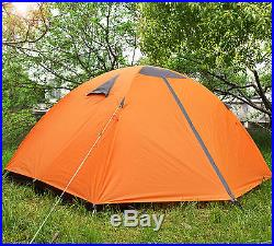 2 Person Orange Double Layer Outdoor Waterproof Camping Hiking Backpack Tent