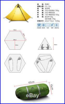 3F UL Gear Ultralight Backpacking 2-3P Teepee Tent 3.5 lbs! Green