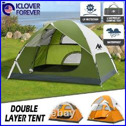 3-4 Person Camping Tent Double Layer Waterproof Hiking Beach Backpacking Shelter