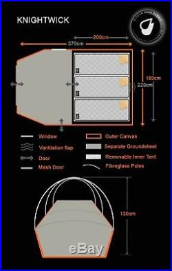 3 Berth Tent Family Camping Weekend/Festivals OLPRO Knightwick (Grey/Orange)