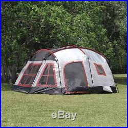 3 ROOM TENT FAMILY CABIN OUTDOOR CAMPING GEAR 8 PERSON SHELTER CARRY BAG STAKES