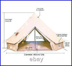 4Season Double Door 4M Bell Tent Waterproof Glamping Canvas Tent Yurt Stove Jack