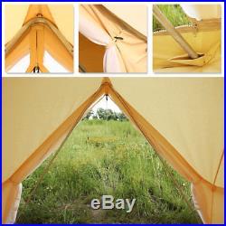 4-Season 3M/9.8ft Beige Bell Tent Waterproof Canvas Heavy Duty Yurt Tent Camping
