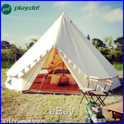 5M Canvas Bell Tent Camping Tent Family Teepee Tipi Waterproof Cotton+Stove Jack