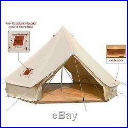 5M Double Door Waterproof 4-Season Cotton Canvas Bell Tent Glamping Yurt Camping