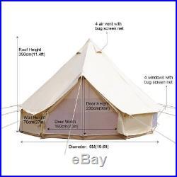6M/19ft Canvas Tent Safari Tent Yurt Bell Tent Outdoor Camping Beige Heavy Duty