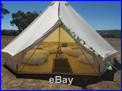6M Canvas Bell Tent Outdoor Wedding Ultimate Yurt Glamping Outdoor Camping Beige