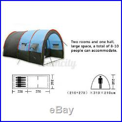 8-10 People Big Outdoor Tunnel Tent Waterproof Travel Hiking Camp Party Shelter
