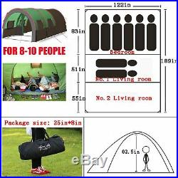8-10 Person Instant Cabin Tent Family Camping Equipment Gear Sleeping Screen