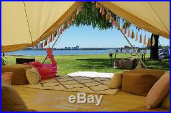 Bell Tent 5M Cotton Canvas Camping Tent Yurt Glamping Waterproof Wedding Outdoor