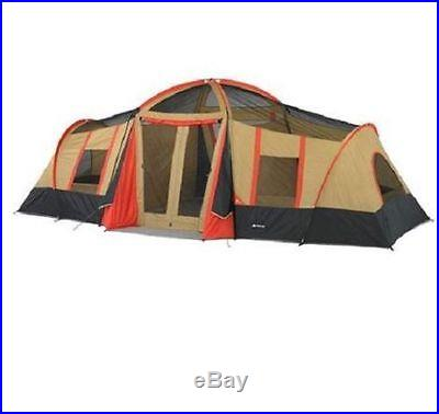 Big 10 Person 3 Room Cabin Tent Screened Camping Family Canvas Hiking Large