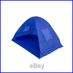 Blue Portable Beach Tent Shelter Sun Shade Outdoor Pop Up Canopy UPF 50 Gazebo