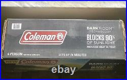 Coleman 6 Person DARKROOM Tent FAST PITCH DOME TENT & BLOCKS 90% OF SUNLIGHT