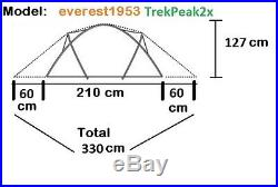Expeditionszelt everest1953 grün Geodät Kuppelzelt 2 Personen Zelt 10.000 mm