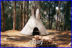 FIRE CERTIFIED 16' CHEYENNE STYLE tipi/teepee, Door flap, carry bag, Lacepin set