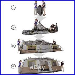 Family 10 Person 3 Room Instant Cabin Pop Up Camping Tent Separate Sleeping NEW