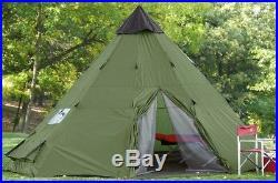 Family Teepee Tent 10'x10' Sleeps 6 People, Green Guide Gear Army Surplus