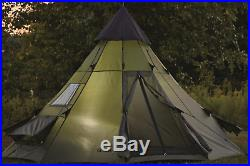 Family Teepee Tent 10x10 Sleeps 6 People Green Camp Army Shelter Weatherproof