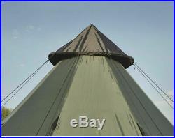 Family Teepee Tent 14x14 Sleeps 8 People, Green Guide Gear Army Surplus