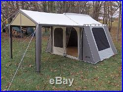 Kodiak Waterproof Canvas Tent 9x12Ft 6 Person withAwning & Screen