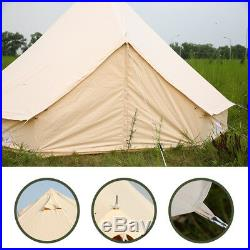 Large Bell Tent 7M Cotton Canvas Tent Camping Glamping Party Beach Yurt 4-Season