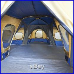 Large Family Camping Tent 14-Person Travel Outdoor Shelter 4-Room Cabin Hiking