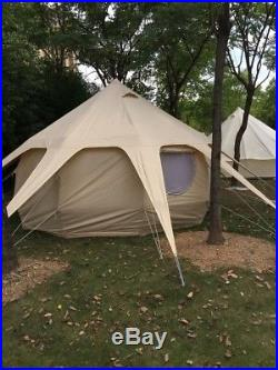 Luxury Glamping Safari Canvas Bell Tent Yurt Style Waterproof Round Tents Beige