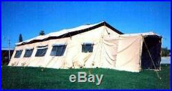 MILITARY TEMPER TENT 20x32 NEW OLD STOCK WATERPROOF COMPLETE