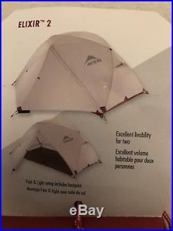 MSR Elixir 2 backpacking tent with footprint (white / red)(2-person)(3 season)