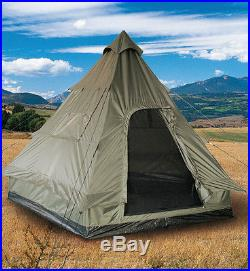 Mil-Tec Pyramidenzelt Tipi 4-Personen-Zelt Campingzelt Oliv 290x270x220cm