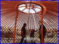 Mongolian Traditional Ger/Yurt, Blue and Red Canvas Cover