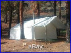 New 13 x 16 Canvas Wall Tent with Awning & Angle Kit by Elk Mountain Tents