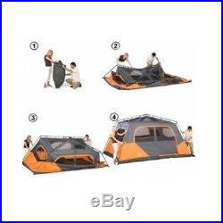 Orange Outdoor Tent 8 Person 2 Room Instant Cabin Shelter Windows Camping Camp