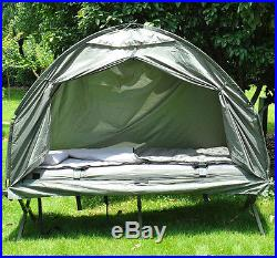 Outdoor One-person folding dome tent hiking camping bed cot With sleeping bag
