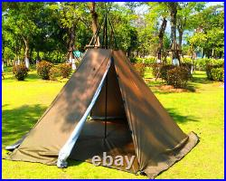 Outdoor Portable Waterproof Camping Pentagonal Teepee Tipi Tent With Stove Hole