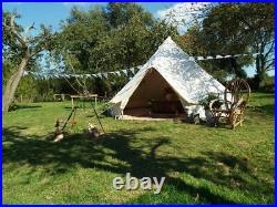Outdoor Waterproof Canvas Bell Tent 6M Hunting Glamping Camping Family Yurt Tent