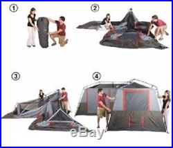 Ozark 3 Room Instant Cabin Tent 12 Person 16'x16' Outdoor Family Camping Hiking