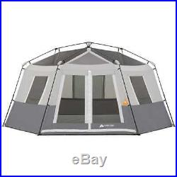 Ozark Trail 8-Person Instant Hexagon Cabin Family Large Tent Camping Gray 4-Seas