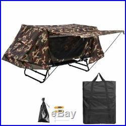 Portable Single Camping Tent Cot Folding Waterproof Hiking Bed Rain Fly Bag Camo
