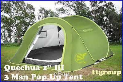 Quechua Waterproof Pop Up Camping Tent 2 Seconds III, 3 Man Double Lining Green