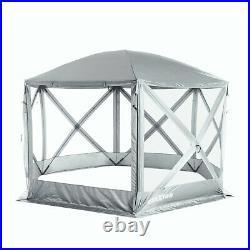 SlumberTrek Flexion Outdoor 6 Sided Gazebo Canopy with Mesh Screen Net, Silver