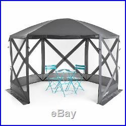 SlumberTrek Flexion Outdoor 6 Sided Gazebo Canopy with Mesh Screen Netting, Gray