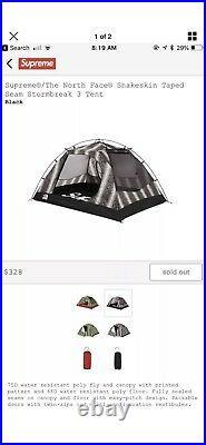 Supreme The North Face TNF Snakeskin Black Stormbreak 3 Taped Seam Tent Box Logo
