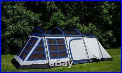Tahoe Gear Glacier 20 x 12 14-Person 3-Season Family Cabin Tent, Blue and White