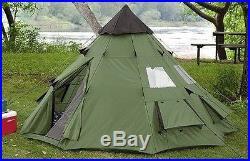 Teepee Tent Survival Camping Waterproof Screened Doors Canvas Tee Pee Hiking New