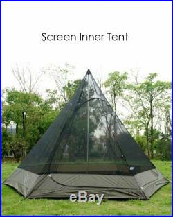 Teepee Tipi Style 4 Man Berth Camping Wigwam Tent Waterproof Double Layers Mesh