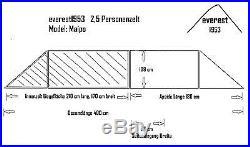 Tunnelzelt + Tarp everest1953 grün Maipo 2 1/2 Personen Zelt Silikon 10000 mm