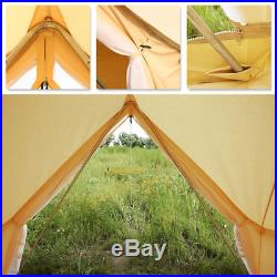 UNISTRENGH 3M Waterproof Canvas Bell Tent Glamping Camping Tent Yurt Stove Jack